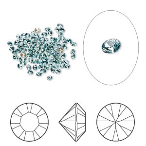 chaton, swarovski crystal rhinestone, crystal passions, light turquoise, foil back, 1.7-1.8mm xilion round (1028), pp11. sold per pkg of 12.