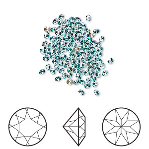 chaton, swarovski crystal rhinestone, crystal passions, light turquoise, foil back, 1.9-2mm xilion round (1028), pp13. sold per pkg of 144 (1 gross).
