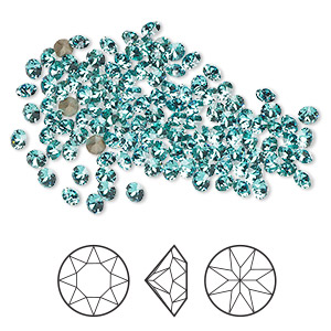 chaton, swarovski crystal rhinestone, crystal passions, light turquoise, foil back, 2.7-2.8mm xirius round (1088), pp21. sold per pkg of 144 (1 gross).