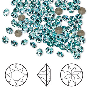 chaton, swarovski crystal rhinestone, crystal passions, light turquoise, foil back, 3.8-4mm xirius round (1088), pp31. sold per pkg of 144 (1 gross).