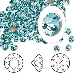 chaton, swarovski crystal rhinestone, crystal passions, light turquoise, foil back, 4-4.1mm xirius round (1088), pp32. sold per pkg of 144 (1 gross).