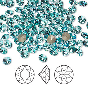 chaton, swarovski crystal rhinestone, crystal passions, light turquoise, foil back, 4.4-4.6mm xirius round (1088), ss19. sold per pkg of 12.