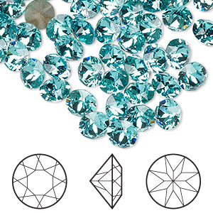 chaton, swarovski crystal rhinestone, crystal passions, light turquoise, foil back, 6.14-6.32mm xirius round (1088), ss29. sold per pkg of 144 (1 gross).