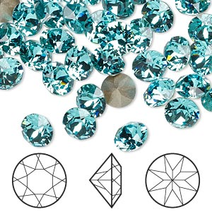 chaton, swarovski crystal rhinestone, crystal passions, light turquoise, foil back, 7.07-7.27mm xirius round (1088), ss34. sold per pkg of 4.