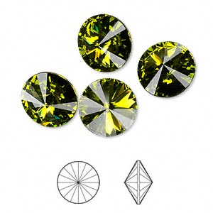 chaton, swarovski crystal rhinestone, crystal passions, olivine, foil back, 12mm faceted rivoli (1122). sold per pkg of 4.