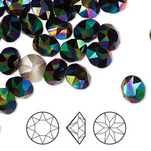 chaton, swarovski crystal rhinestone, crystal passions, rainbow dark, foil back, 8.16-8.41mm xirius round (1088), ss39. sold per pkg of 4.