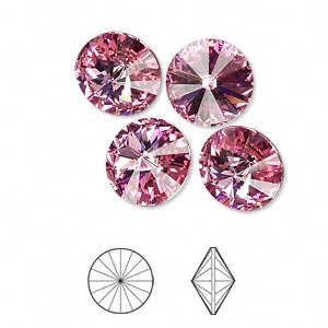 chaton, swarovski crystal rhinestone, crystal passions, rose, foil back, 12mm faceted rivoli (1122). sold per pkg of 4.