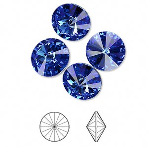 chaton, swarovski crystal rhinestone, crystal passions, sapphire, foil back, 12mm faceted rivoli (1122). sold per pkg of 48.