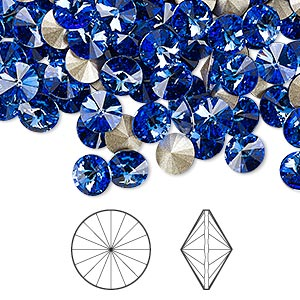 chaton, swarovski crystal rhinestone, crystal passions, sapphire, foil back, 6.14-6.32mm faceted rivoli (1122), ss29. sold per pkg of 144 (1 gross).