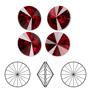 chaton, swarovski crystal rhinestone, crystal passions, scarlet, foil back, 12mm faceted rivoli (1122). sold per pkg of 4.