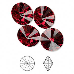 chaton, swarovski crystal rhinestone, crystal passions, siam, foil back, 14mm faceted rivoli (1122). sold per pkg of 4.