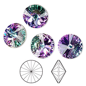 103acc70535 Chaton, Swarovski® crystal rhinestone, crystal vitrail light, foil back,  14mm faceted rivoli (1122). Sold per pkg of 4. Other Package Size(s) Here