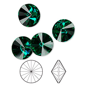 chaton, swarovski crystal rhinestone, emerald, foil back, 12mm faceted rivoli (1122). sold per pkg of 144 (1 gross).