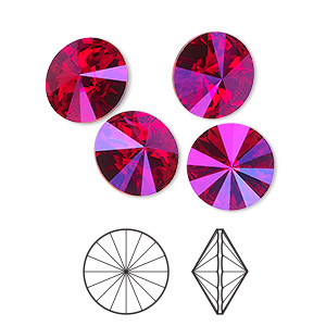 a22cef04a Chaton, Swarovski® crystal rhinestone, light Siam astral pink, foil back,  12mm faceted rivoli (1122). Sold per pkg of 4. Other Package Size(s) Here