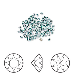 chaton, swarovski crystal rhinestone, light turquoise, foil back, 1.6-1.7mm xilion round (1028), pp10. sold per pkg of 1,440 (10 gross).