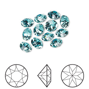 2f2d4a603 Chaton, Swarovski® crystal rhinestone, light turquoise, foil back,  6.14-6.32mm Xirius round (1088), SS29. Sold per pkg of 12. Other Package  Size(s) Here