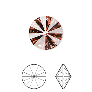 chaton, swarovski crystal rhinestone, rose peach, foil back, 14mm faceted rivoli (1122). sold per pkg of 144 (1 gross).