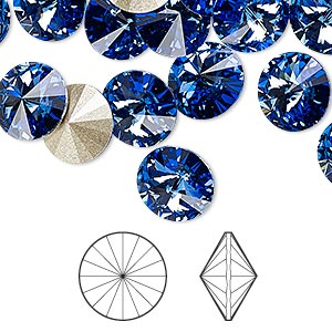 chaton, swarovski crystal rhinestone, sapphire, foil back, 10.54-10.91mm faceted rivoli (1122), ss47. sold per pkg of 288 (2 gross).