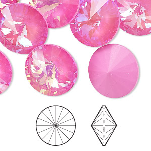 chaton, swarovski crystal rhinestone with third-party coating, crystal passions, ultra pink ab, 16mm faceted rivoli (1122). sold per pkg of 2.