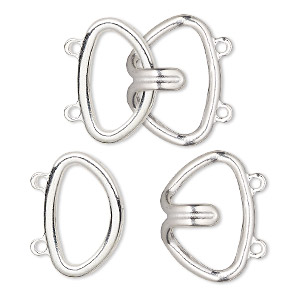 clasp, 2-strand hook, silver-finished brass, 24x22mm. sold per pkg of 10.