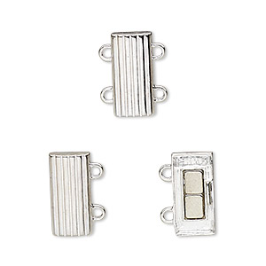 clasp, 2-strand magnetic, sterling silver, 14x6mm rectangle. sold individually.