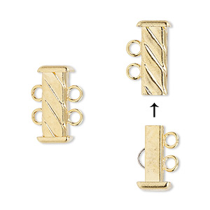 clasp, 2-strand slide lock, gold-plated brass, 16x7mm corrugated rectangle tube. sold per pkg of 4.