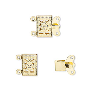 clasp, 2-strand tab, gold-plated brass, 10x7mm filigree square with flower. sold per pkg of 100.