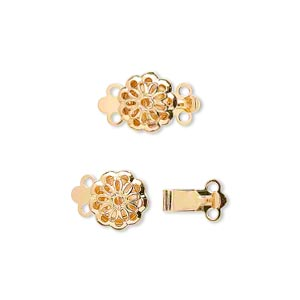 clasp, 2-strand tab, gold-plated brass, 9x9mm filigree flower. sold per pkg of 10.