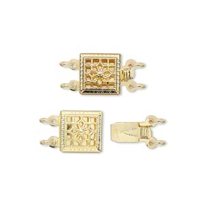 clasp, 2-strand tab, gold-plated brass, 9x9mm square with flower. sold per pkg of 2.
