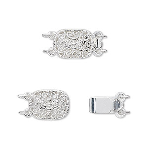 clasp, 2-strand tab, silver-plated brass, 12x9mm filigree oval. sold per pkg of 4.