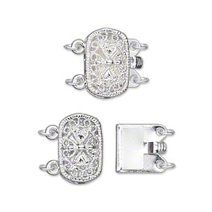 clasp, 2-strand tab, silver-plated brass, 14x9mm filigree oval. sold per pkg of 2.