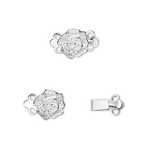 clasp, 2-strand tab, silver-plated brass, 9x9mm single-sided rose. sold per pkg of 10.