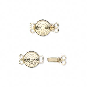 clasp, 2-strand tab with safety, 14kt gold-filled, 8mm bullseye round. sold individually.