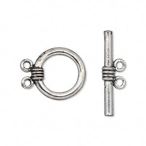 clasp, 2-strand toggle, antiqued pewter (tin-based alloy), 16mm round. sold per pkg of 2.
