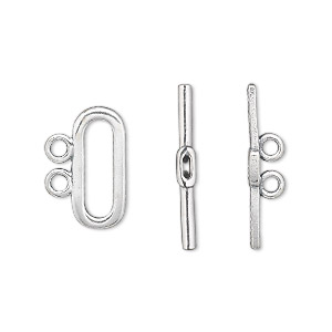 clasp, 2-strand toggle, sterling silver, 16x7mm oval. sold individually.