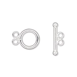 clasp, 2-strand toggle, sterling silver-filled, 12mm smooth round. sold individually.
