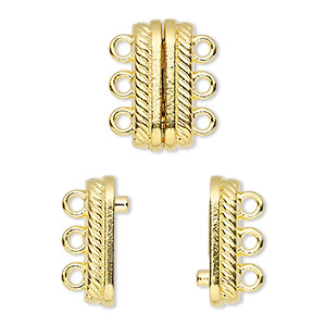 clasp, 3-strand magnetic, gold-finished pewter (zinc-based alloy), 18x8mm double-sided rectangle with rope design. sold individually.