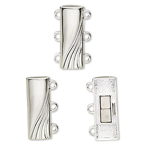 clasp, 3-strand magnetic, sterling silver, 19.5x7mm rectangle with wave design. sold individually.