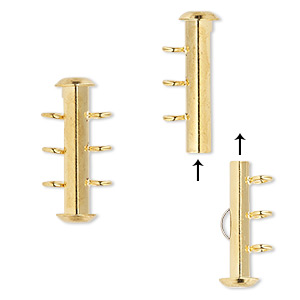 clasp, 3-strand slide lock, gold-plated brass, 21x6mm round tube. sold per pkg of 4.