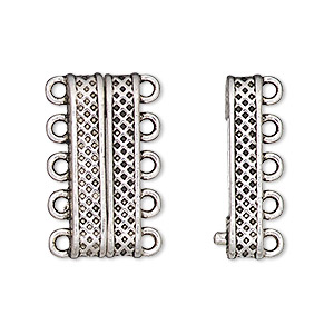 clasp, 5-strand magnetic, antique silver-finished pewter (zinc-based alloy), 24.5x9mm rectangle with textured design. sold individually.