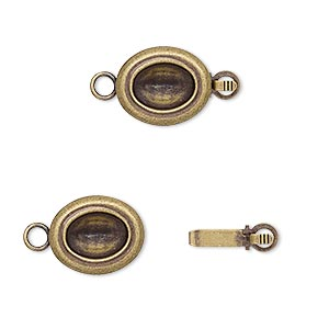 clasp, almost instant jewelry, tab, antique gold-plated brass, 13x11mm oval with 8x6mm oval setting. sold per pkg of 4.