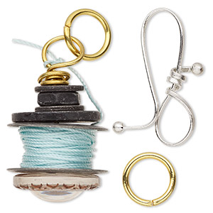 clasp and drop, acrylic / cotton / gold- / silver- / antique silver-finished pewter (zinc-based alloy), aqua blue / clear / brown, 23x21mm spool and 43x10mm hook. sold per 2-piece set.