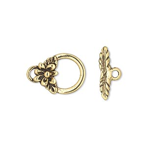clasp, antique gold-plated pewter (tin-based alloy), 17x12mm toggle with flower and leaves. sold per pkg of 3.