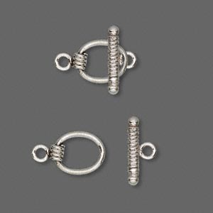 clasp, antiqued sterling silver, 15x8.5mm round. sold per pkg of 2.