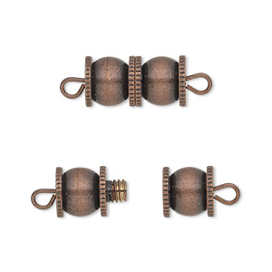 clasp, barrel, antique copper-finished brass, 16x8mm fancy double round. sold per pkg of 4.