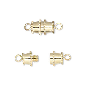clasp, barrel, gold-finished brass, 12x8mm. sold per pkg of 10.