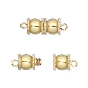 clasp, barrel, gold-finished brass, 16x8mm fancy double round. sold per pkg of 4.