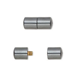 clasp, barrel, hemalyke™ (man-made), 15x7mm round tube. sold per pkg of 6.