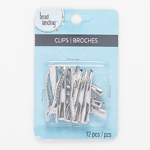 clasp, bead landing™, alligator clip, silver-finished steel, 45x7mm. sold per pkg of 12.