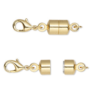 clasp converter, magnetic, magna clasp™, gold-plated brass, 28x7mm. sold per pkg of 12.